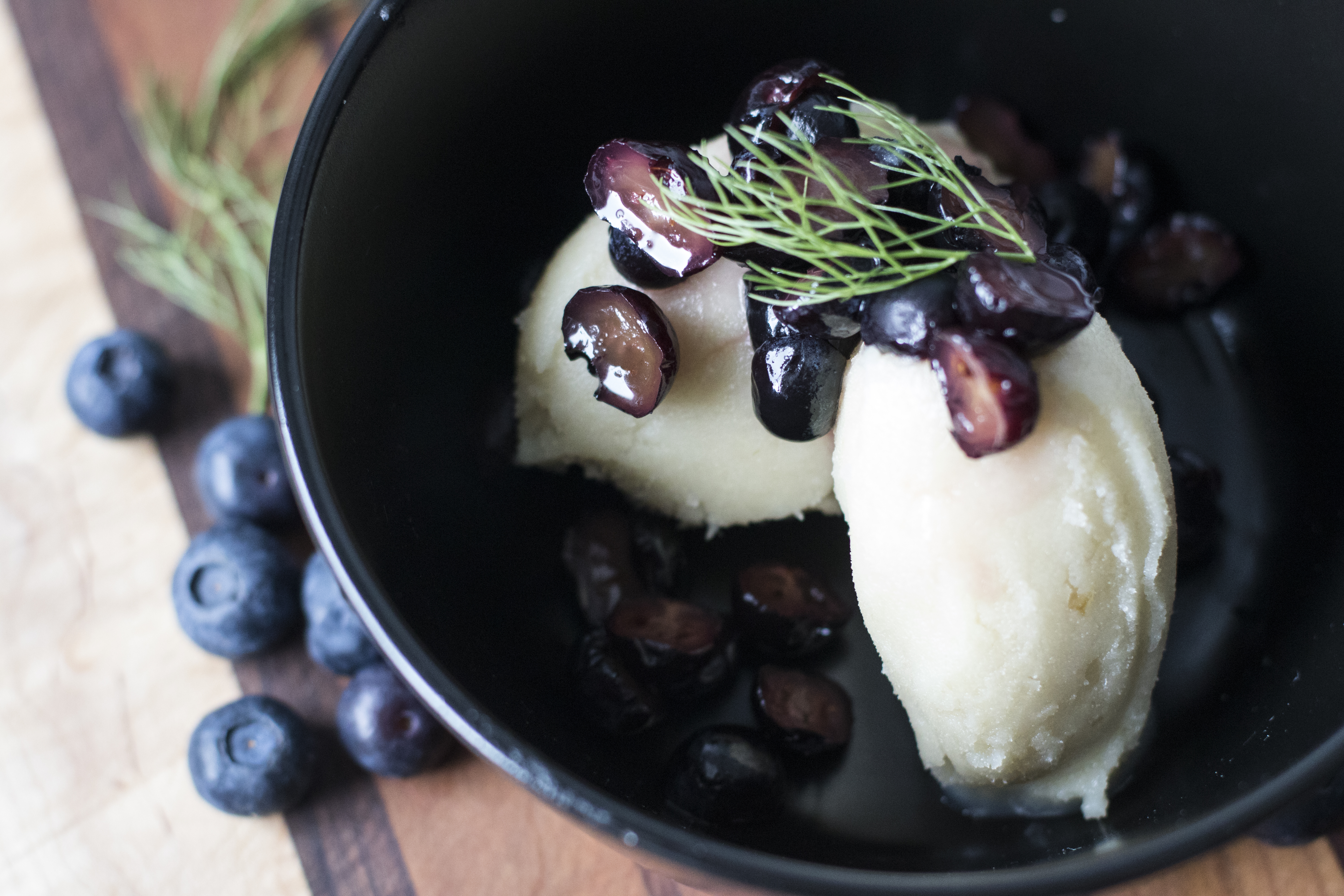 Honey Roasted Fennel Sorbet with Pickled Blueberries